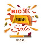 Big autumn sale, abstract banner. Big autumn sale banner with abstract leafs, loading bar and colorful partikles isolated on white background. Template for Royalty Free Stock Image
