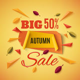 Big autumn sale banner with abstract leafs. Big autumn sale banner with abstract leafs and colorful particles on orange background. Vector illustration Royalty Free Stock Photo