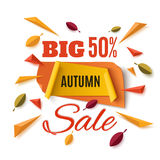 Big autumn sale banner with abstract leafs. Big autumn sale banner with abstract leafs and colorful particles  on white background. Vector illustration Royalty Free Stock Photos