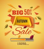 Big autumn sale banner with abstract leafs. Big autumn sale banner with abstract leafs, loading bar and colorful particles on orange background. Template for Stock Photography