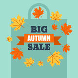 Big autumn sale banner background with shopping bag silhouette. Stock Image