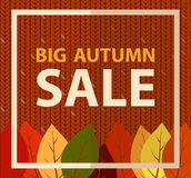 Big autumn sale banner on knitted fabric. Knit pattern background, flat illustration Stock Photos