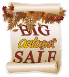 Big autumn sale card in vintage style Stock Image