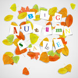 Big autumn sale with colorful leaves Stock Images