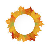 Big Autumn sale design. Big Autumn round paper banner. Can be used for flyers, banners or posters. Vector illustration with colorful autumn leaves. Thanksgiving Royalty Free Stock Image