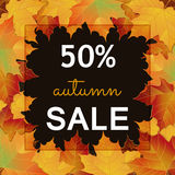 Big Autumn sale design. Big Autumn sale square banner. Can be used for flyers, banners or posters. Vector illustration with colorful autumn leaves. Fall sales Royalty Free Stock Images