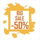 A big autumn sale of fifty percent surrounded by yellow leaves on a white background. Discount, cheap, sell vector illustration