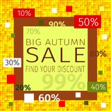 Big autumn sale. Find your discount. Promotional discount, sale. Big autumn sale promotional discount background with an inscription Big Autumn Sale, find your Royalty Free Stock Photography
