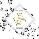 Big autumn sale - gold glitter vector text. On background of leaves maples, hand painted gold letter, special offer autumn sale, autumnal golden lettering for Stock Image