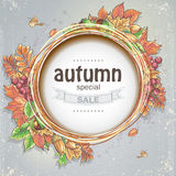 Big autumn sale with the image of autumn leaves, acorns, chestnuts and berries of Viburnum Royalty Free Stock Images