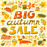 Big autumn sale lettering. . Design for seasonal posters and car Stock Photo