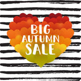 Big Autumn sale. Lettering on the leaves in a heart shape background  illustration Stock Image