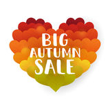 Big Autumn sale. Lettering on the leaves in a heart shape background vector illustration Stock Photo