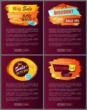 Big Autumn Sale New Offer Discounts Vector Posters Royalty Free Stock Photo