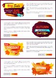 Big Autumn Sale New Offer Discounts Vector Posters Stock Images