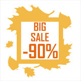 A big autumn sale of ninety percent surrounded by yellow leaves on a white background. Discount, cheap, sell stock illustration