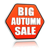 Big autumn sale orange hexagon banner Royalty Free Stock Photos
