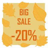 The big autumn sale for 20 percent. Different yellow leaves fly around the inscription with a sale of 20 percent stock illustration