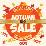 Big autumn sale poster. Poster of big autumn sale and falling prices Stock Photography