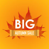Big Autumn sale poster vector promotion Stock Photos