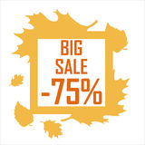 A big autumn sale of seventy five percent surrounded by yellow leaves on a white background. Discount, cheap, sell stock illustration