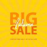 Big Autumn Sale sign with retro pop art halftone background. Vector web banner template illustration Royalty Free Stock Image