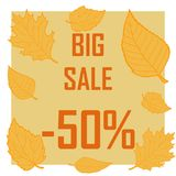 A big autumn sale surrounded by yellow leaves. Poster discounts for 50 percent, big sale Stock Photo
