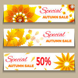 Big Autumn sale. Three banners collection. Can be used for flyers, banners or posters.Vector design for your business illustration. Three banners collection. Can Stock Photography