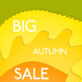 Big Autumn Sale vector background, green, yellow, orange and red. Colored with white text Stock Image