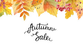 Big autumn sale. Watercolor illustration with colored leaves and hand lettering on a white background. Ideal for design banners, leaflets, posters, flyers with Royalty Free Stock Photography