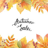 Big autumn sale. Watercolor illustration with colored leaves and hand lettering on a white background. Ideal for design banners, leaflets, posters, flyers with Stock Image