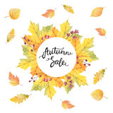 Big autumn sale. Watercolor illustration with colored leaves and hand lettering on a white background. Ideal for design banners, leaflets, posters, flyers with Stock Photos
