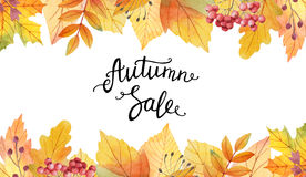 Big autumn sale. Watercolor illustration with colored leaves and hand lettering on a white background. Ideal for design banners, leaflets, posters, flyers with Royalty Free Stock Photo