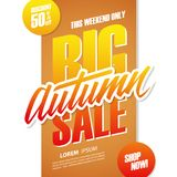 Big Autumn Sale. This weekend special offer banner. Big Autumn Sale. This weekend special offer banner with hand lettering for seasonal shopping. Discount up Royalty Free Stock Photography