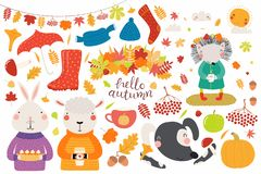 Big autumn set with cute animals royalty free illustration
