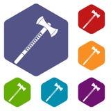 Big ax icons set hexagon Royalty Free Stock Photography