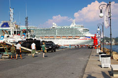 Big Azura cruise liner. LA SPEZIA, ITALY - AUGUST 08, 2015: Big Azura cruise liner sailing along the pier  in La Spezia port, Ligurian province, Italy Stock Photos