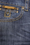 Big back pocket on jeans. With a yellow embroidery Royalty Free Stock Images