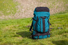 Big backpack at camp Stock Photos