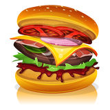 Big Bacon Burger. Illustration of a design big bacon burger icon, with beef steak, salad, tomatoes and onions for fast food snack and takeaway menu Royalty Free Stock Image
