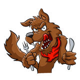 Big bad cartoon wolf. Stock Photography