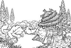 Big Bad Wolf Blowing Down House Three Little Pigs. Big bad wolf character from the three little pigs story blowing down the straw house Stock Images
