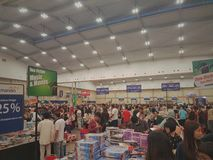 A crowded Bookfair in Tangerang. stock images