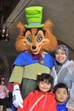 Big bad wolf, a star cartoon in Tokyo Disney Sea. A disney cartoon character posing with a family at Disney Sea ( a theme park managed by Disneyland ) during a Stock Images