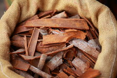 Big bag with cinnamon sticks Royalty Free Stock Photography