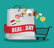 Big bag gift deals day offer shop cart Royalty Free Stock Photos
