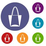 Big bag icons set. In flat circle red, blue and green color for web Stock Photography