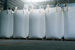 Big bags. Big bag for plastic resin in warehouse factory delivery to customers Stock Photography