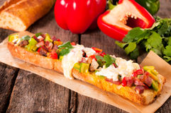 Big baguette sandwich Royalty Free Stock Photos