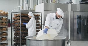 Big bakery industry baker prepare the dough add the flour in a big container background workers arrange the bread and. Transported the baked bread stock footage